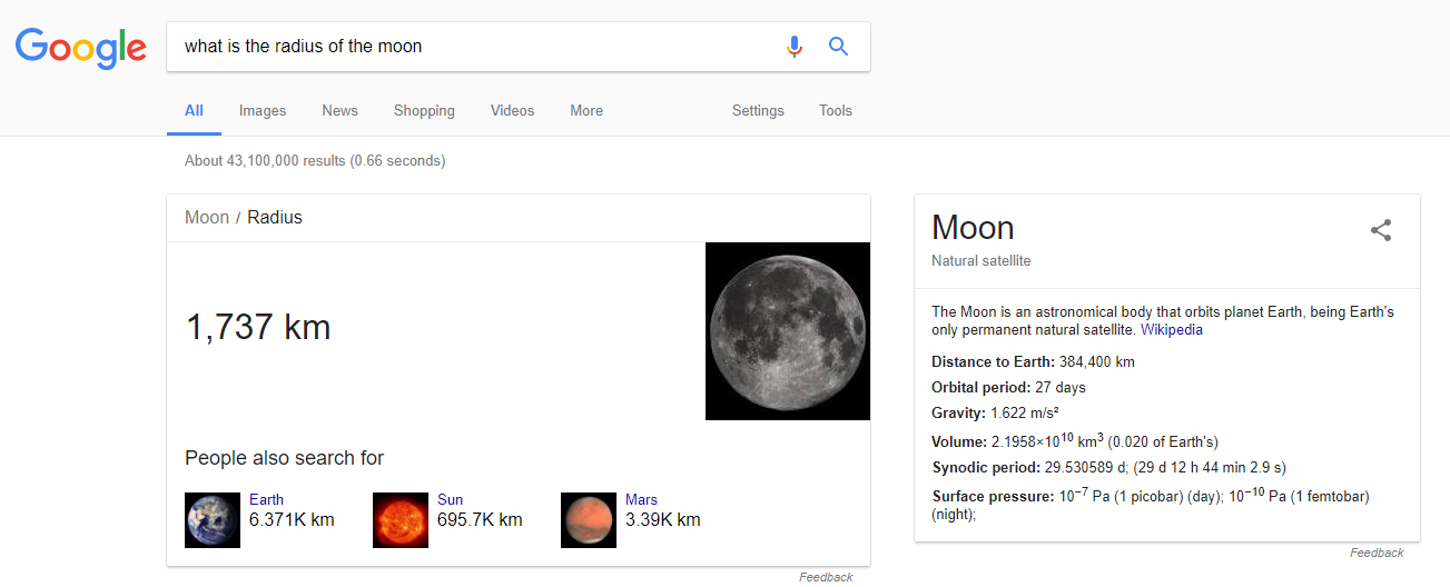 what is the radius of the moon rich answer