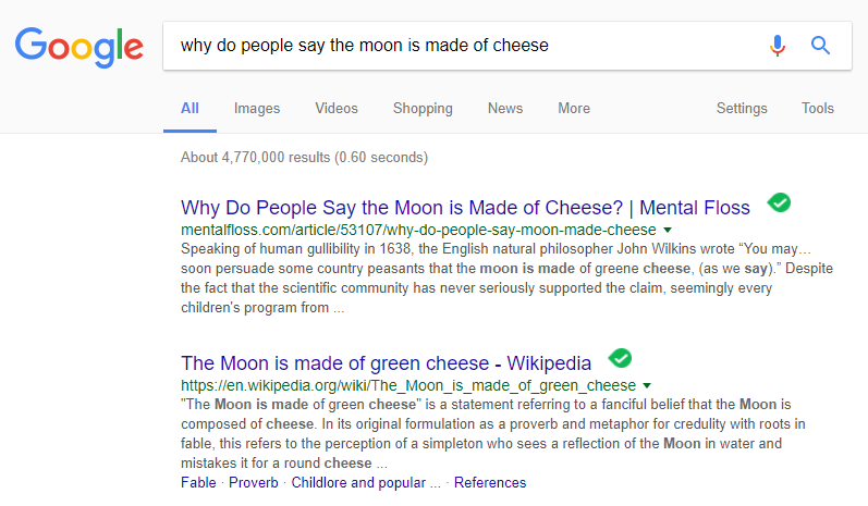 why do people say the moon is made of cheese search results