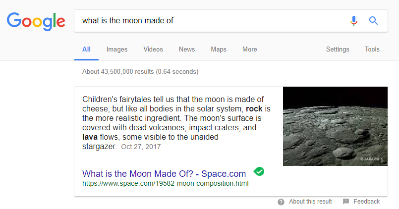 what is the moon made of featured snippet