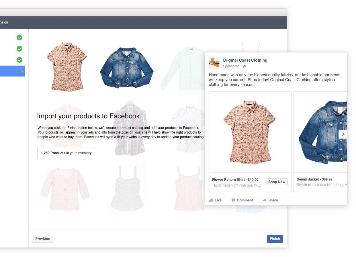 Ecommerce products import to Facebook