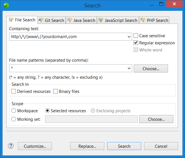 Search in Files Tool