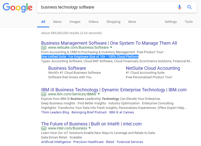 Screenshot of business technology software - Google Search 2.26.18