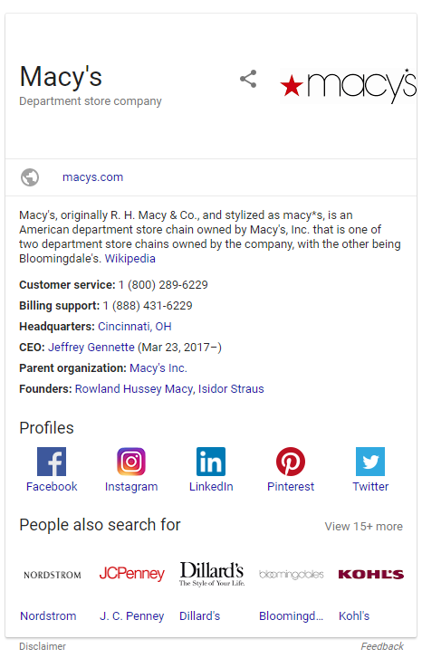 Screenshot of the Knowledge Grpah for Macys search in Google SERP 2.26.18