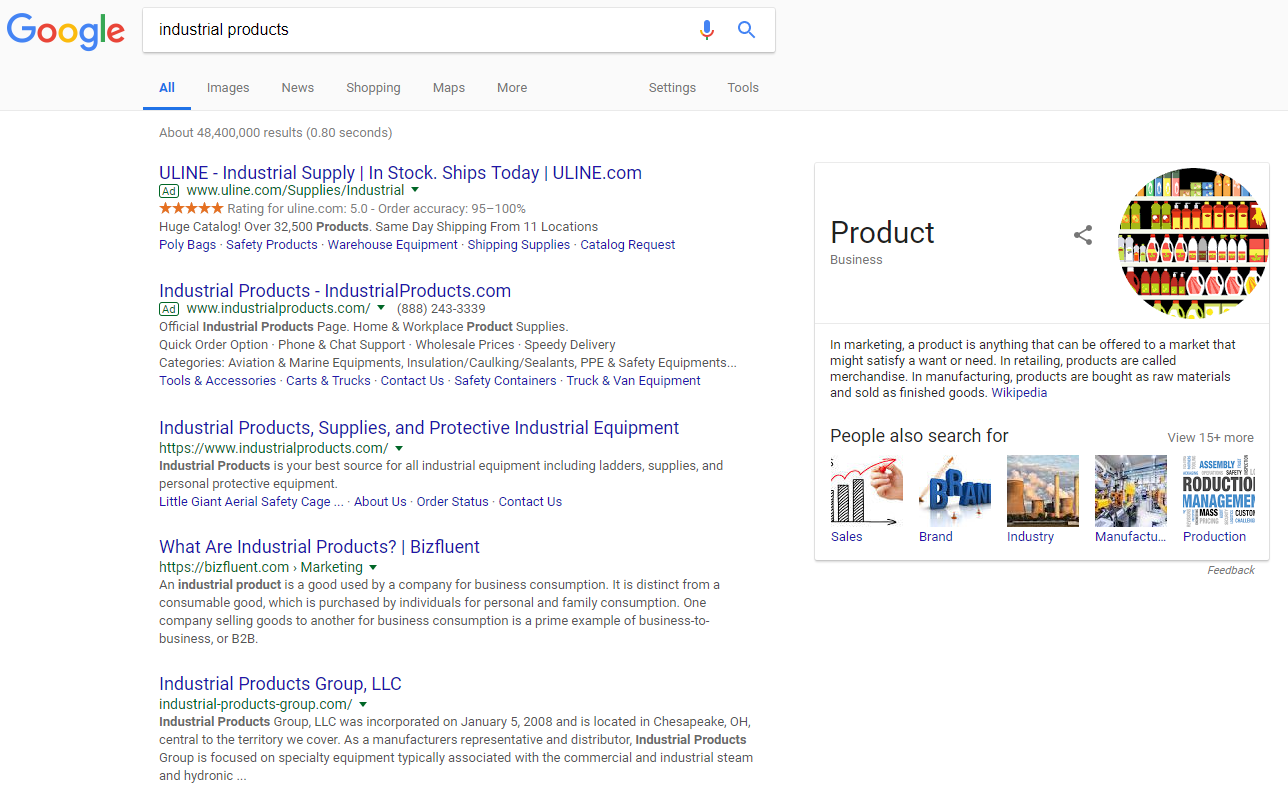 Screenshot of Google search for industrial products taken 2.26.18