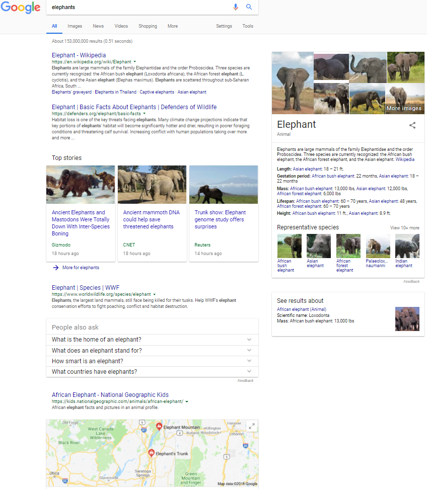 Screenshot of SERP for elephants Google 2.27.18