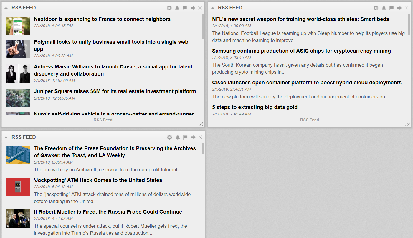 Cyfe - Track multiple RSS feeds