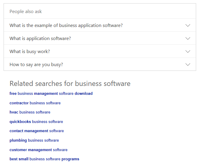 Screenshot of Bing search for business software