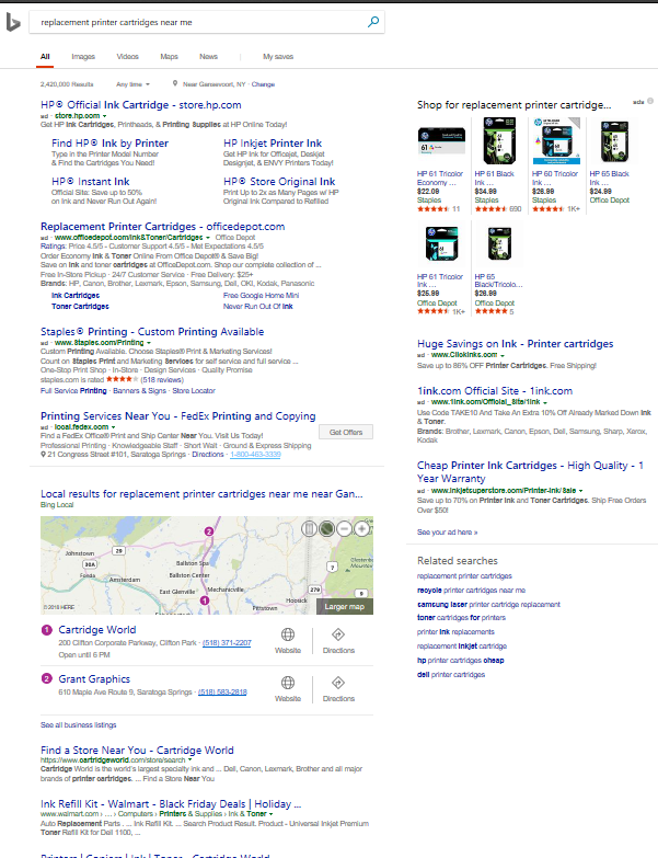 Screenshot of Bing search for replacement printer cartridges near me taken 2.26.18 near Saratoga Springs NY