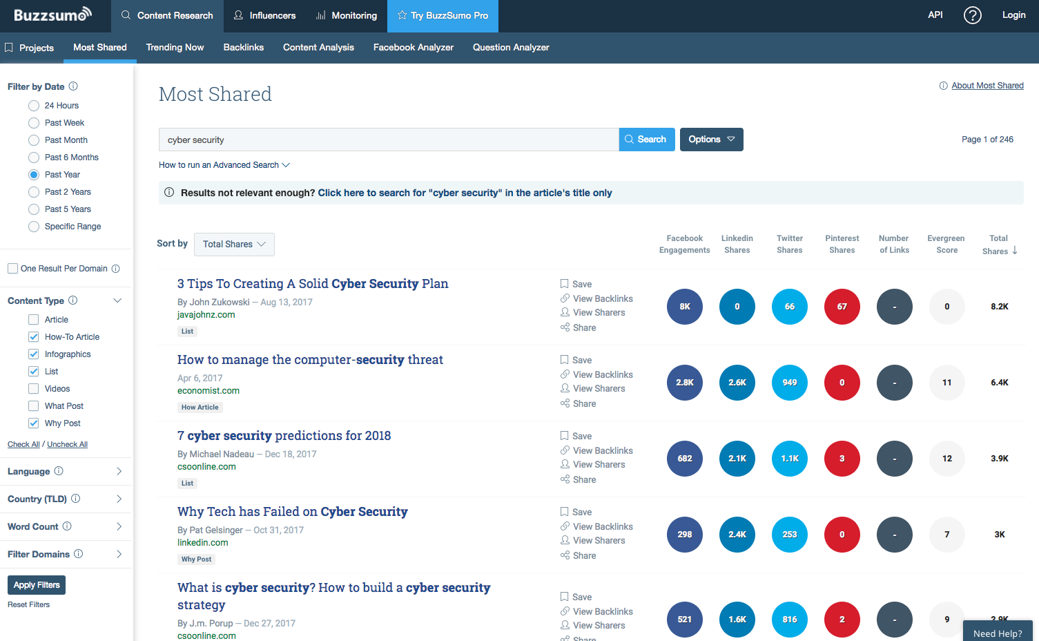 Buzzsumo outreach tool