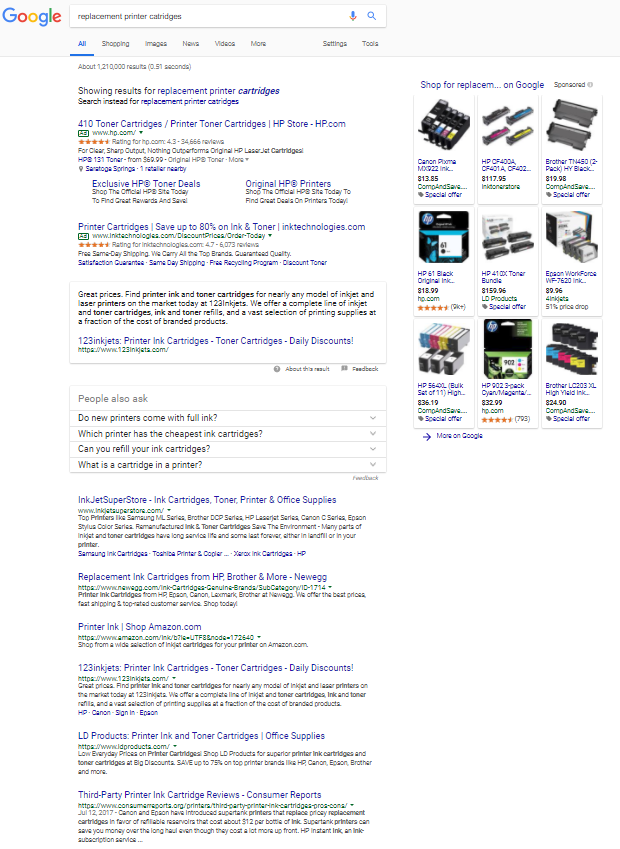 Screenshot of Google search for repalcement printer cartridges taken 2.26.18