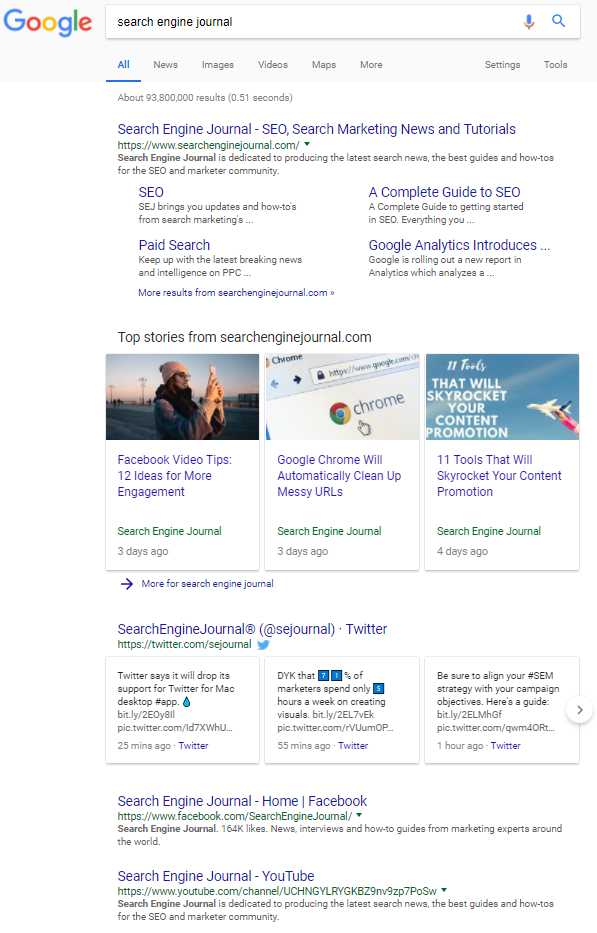 Screenshot of Google SERP for Search Engine Journal
