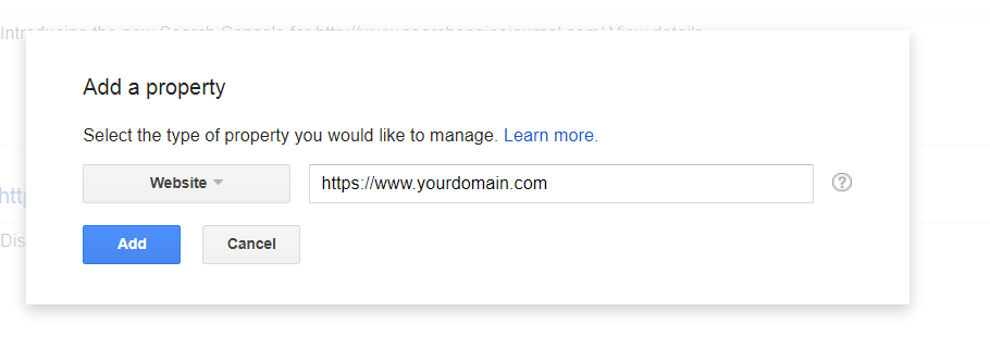 google search console website url settings