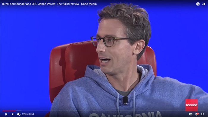 Screenshot of a video of Jonah Peretti, CEO of BuzzFeed, discussing building a viable business with social media.