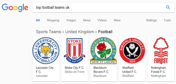 In addition to featuring images that can be swiped and breadcrumb navigation, Google also successfully distinguishes between American football and what the rest of the world calls football.