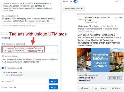 Tag ads with unique UTM tags