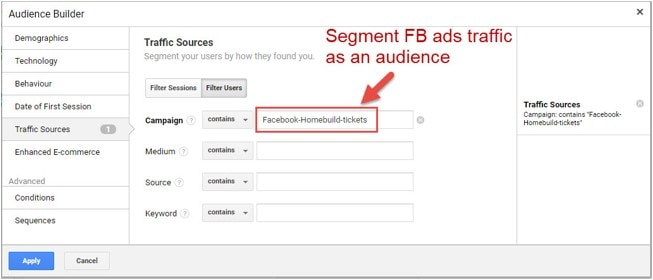 segment fb ads traffic as an audience