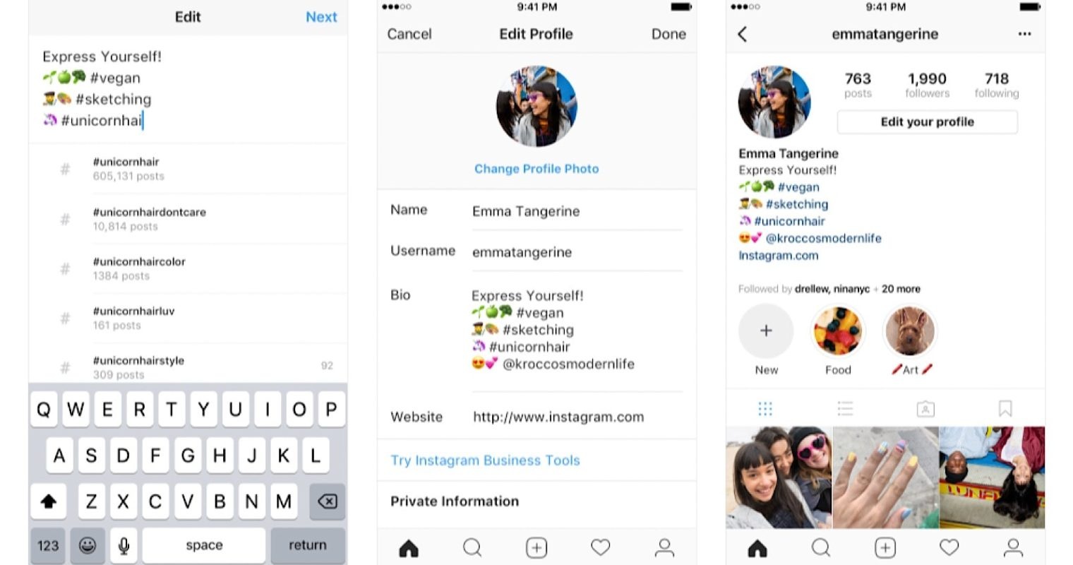 Instagram Adds Support for Hashtags & Profile Links in Bios