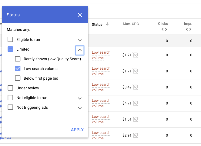 adwords low search volume filter