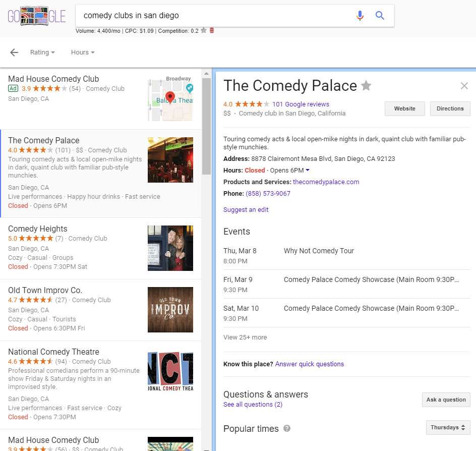 The Comedy Palace Broad Information