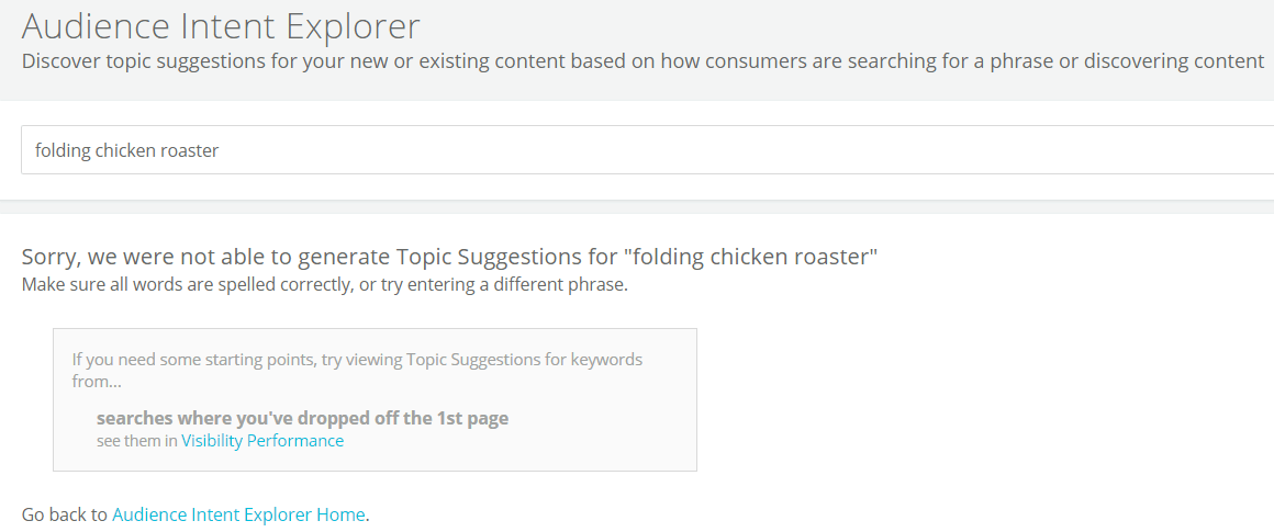 audience intent explorer folding chicken roaster screenshot