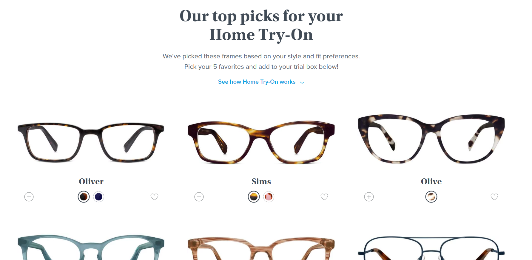 Warby Parker Home Try-On Quiz