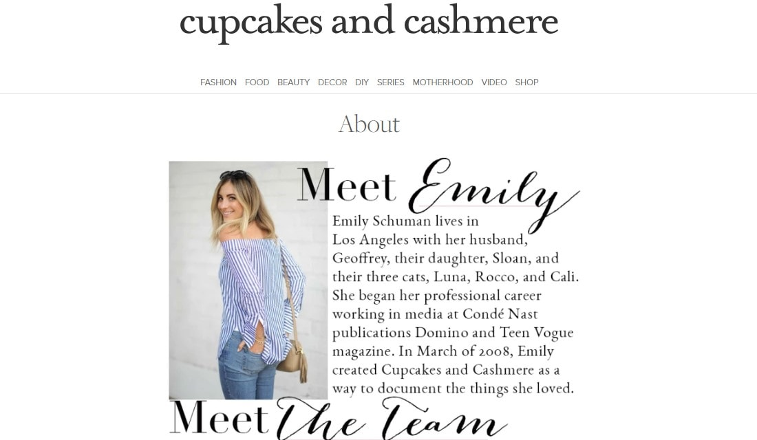 Cupcakes and Cashmere About Us page