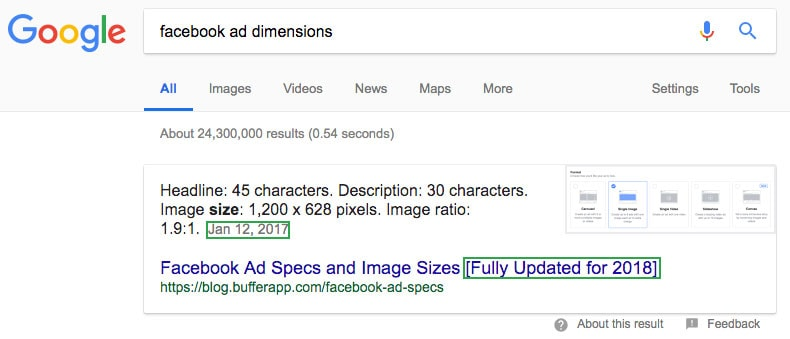 facebook ad dimensions query result