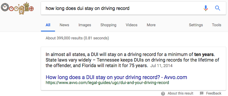 how long does dui stay on driving record