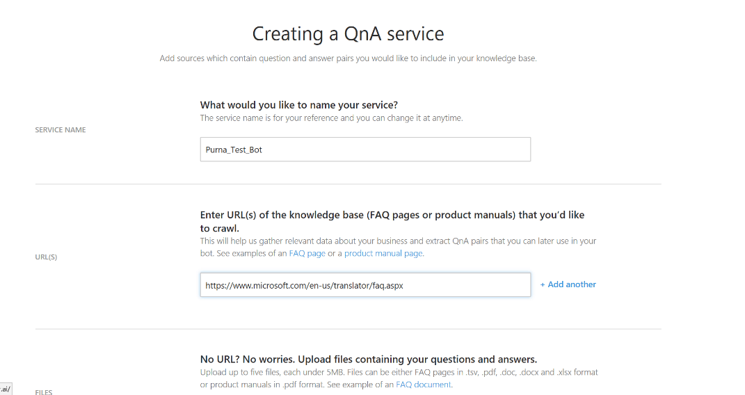 Creating a QnAMaker service screenshot