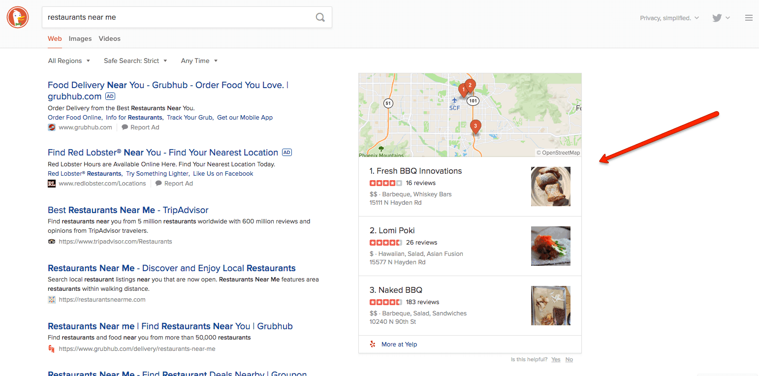 DuckDuckGo local results