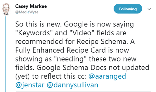Major Recipe Structured Data Update by Google