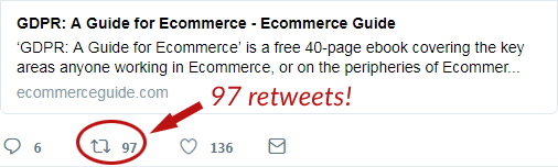 A tweet promoting a PDF document received 97 retweets, including one by John Mueller of Google.