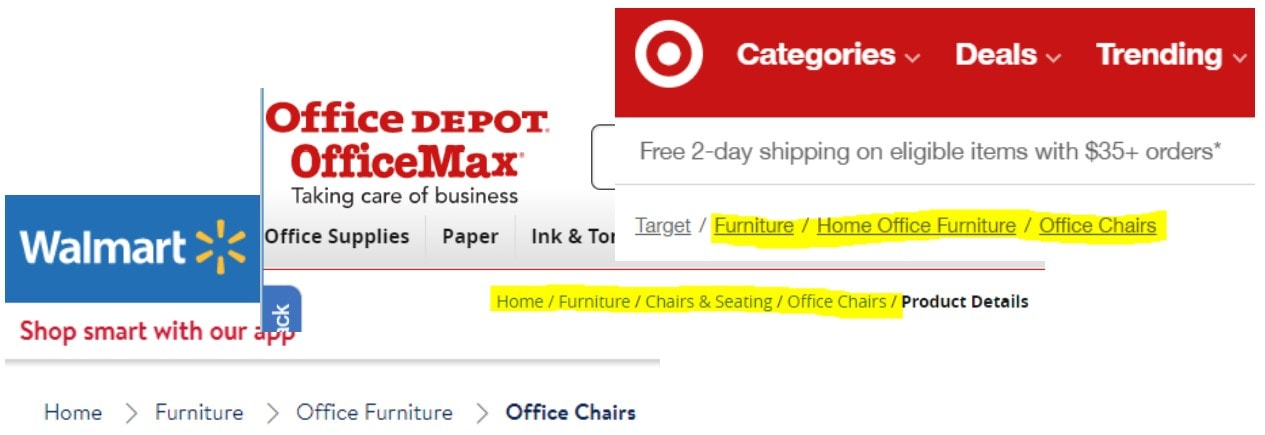 target, office depot & walmart website categories