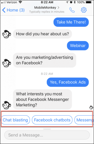 buttons in messenger
