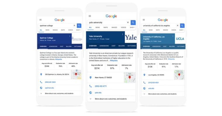 Google Rolls Out New Knowledge Graph Cards for College Searches