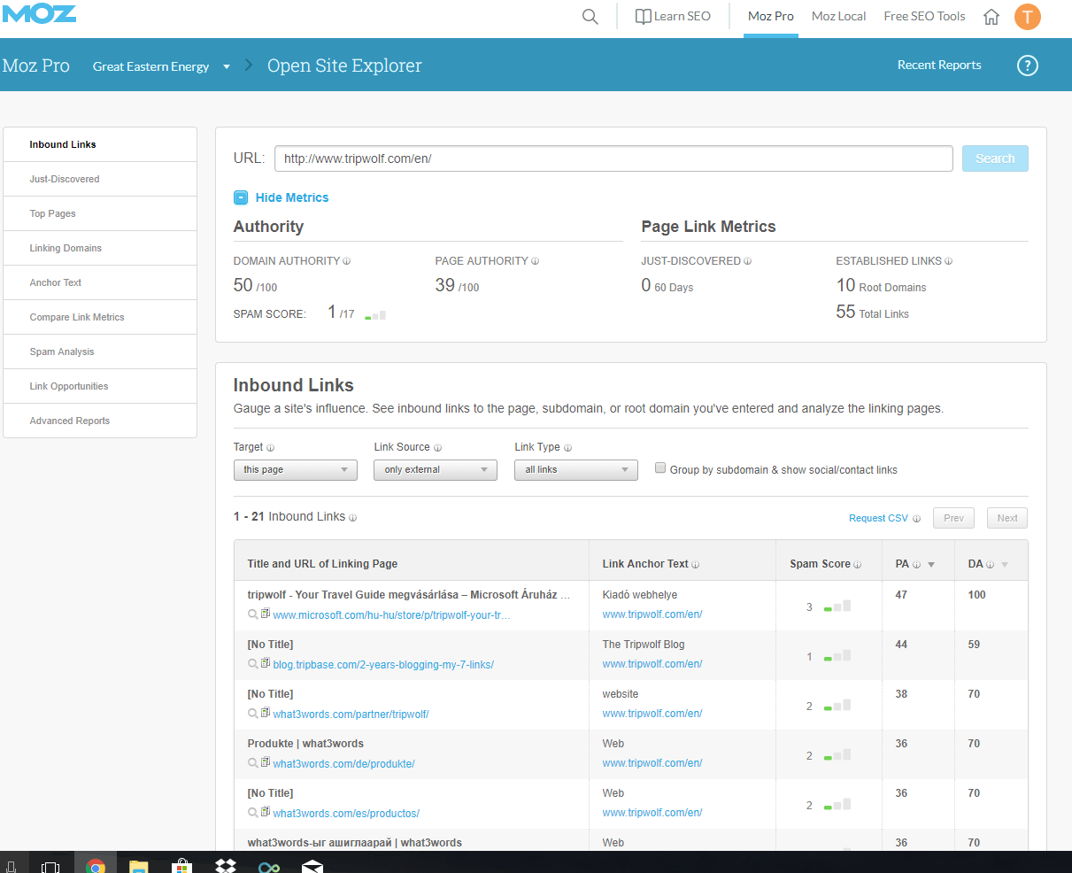 Moz Pro Interface