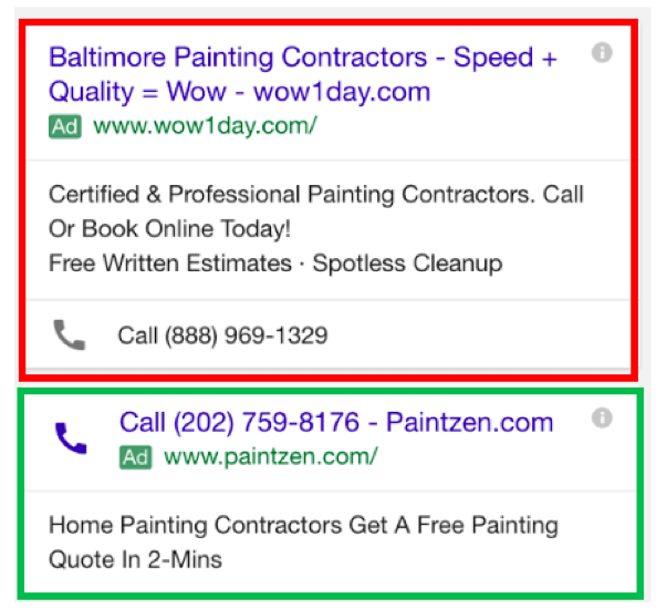 Examples of call only campaigns featuring ads for painting services