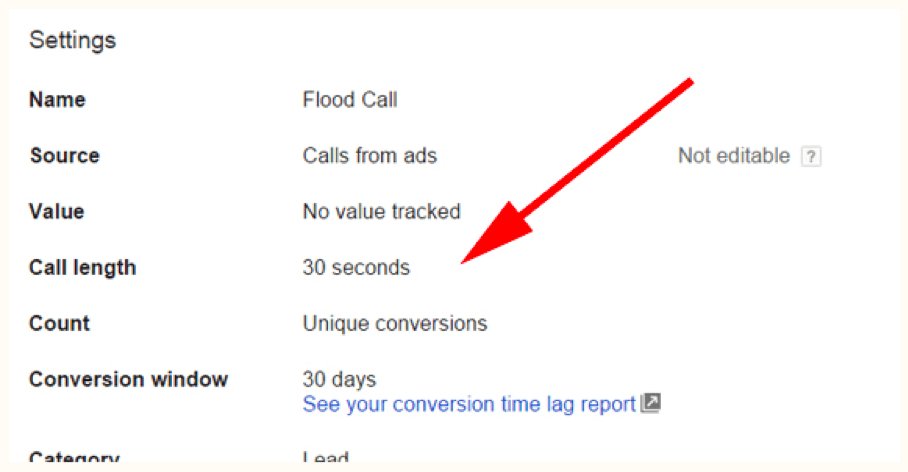 Image of call length inside Adwords dashboard