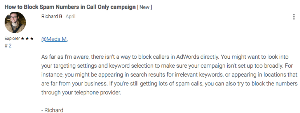 Google community user response about blocking spam numbers in call only campaigns