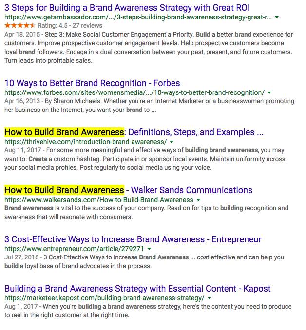 How to build brand awareness Google search results