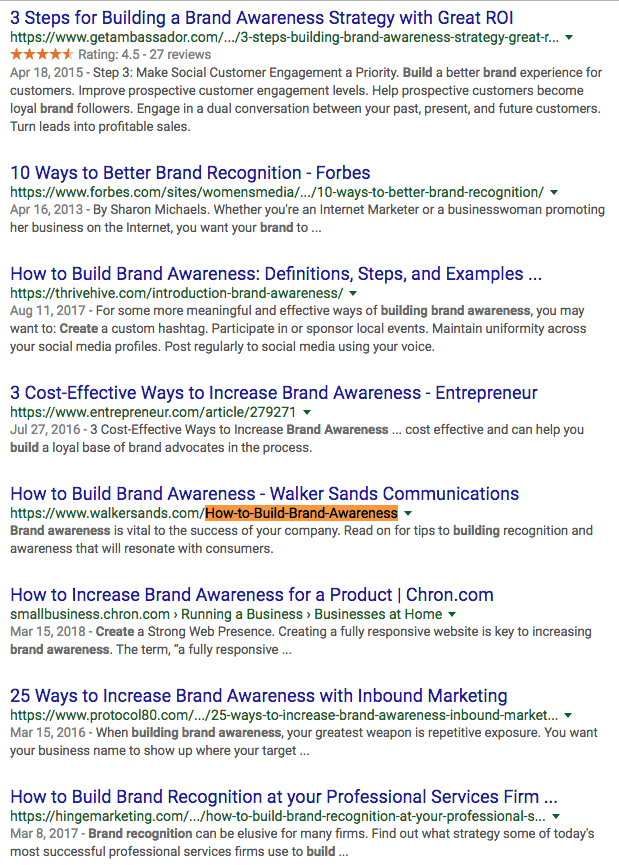 how-to-build-brand-awareness Google SERP