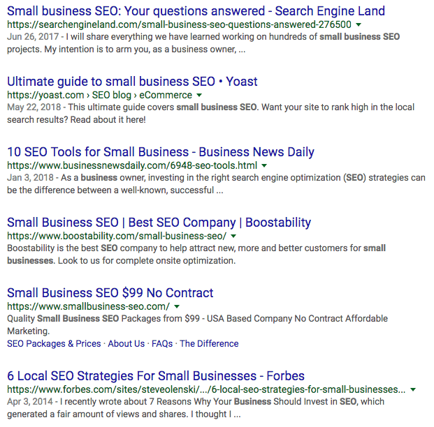 Small business SEO Google SERP