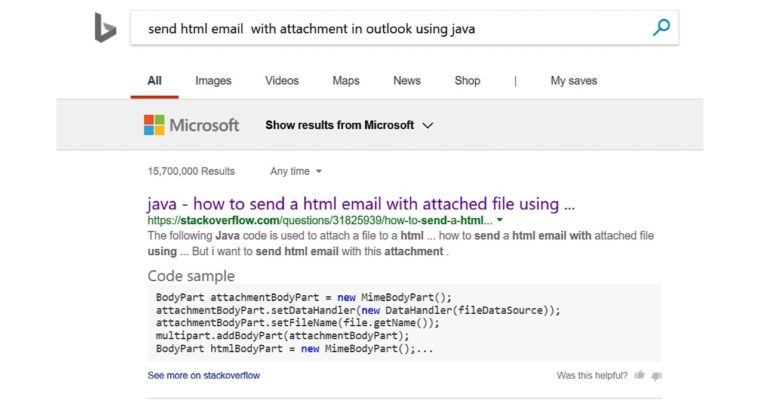 Bing Now Provides Exact Snippets of Code for Developers' Queries