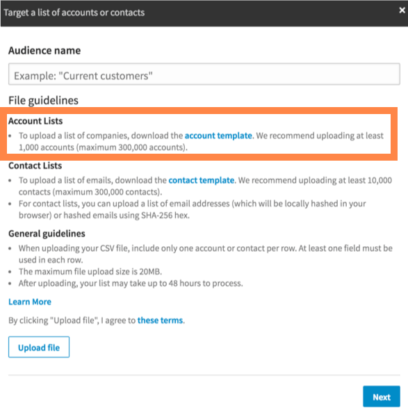 Adding Account Lists in LinkedIn Ads