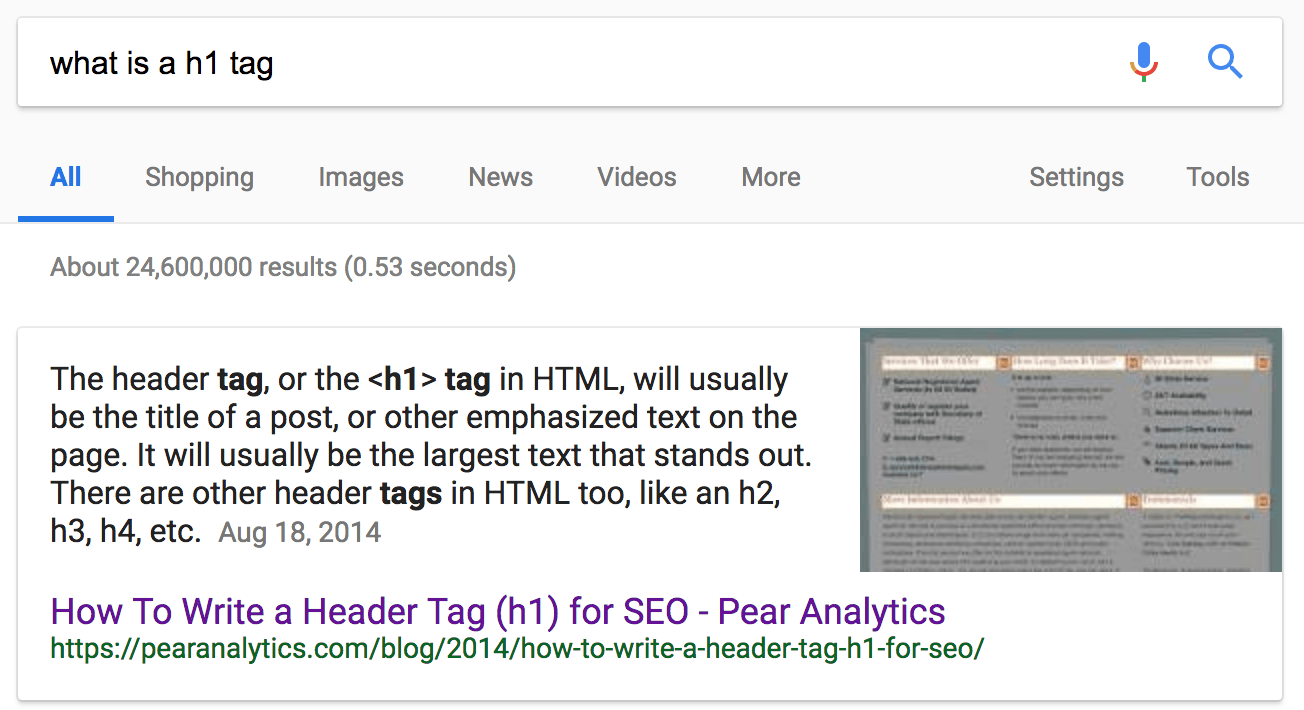 google featured snippet result for what is a h1 tag