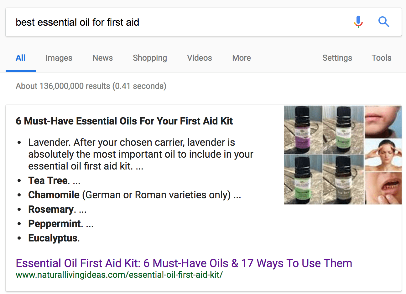 google bulleted list featured snippet for best essential oils for first aid kit