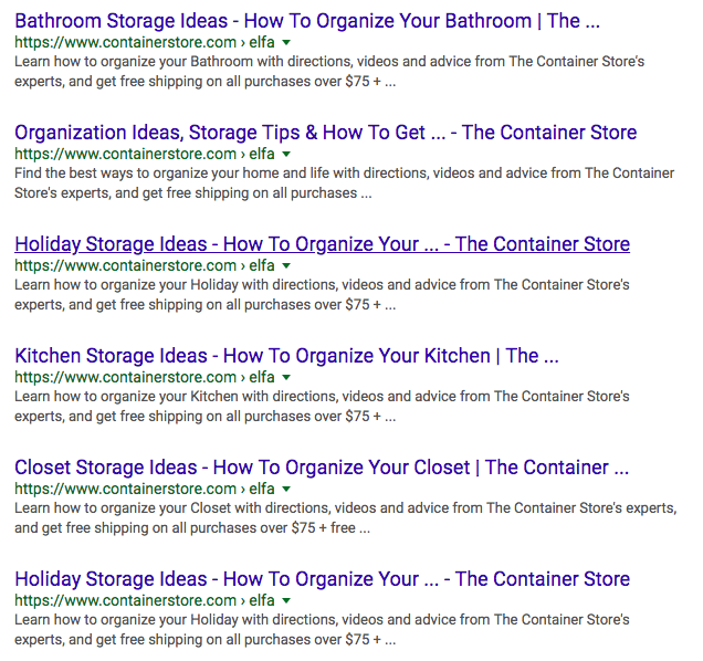 sample of serps with page titles