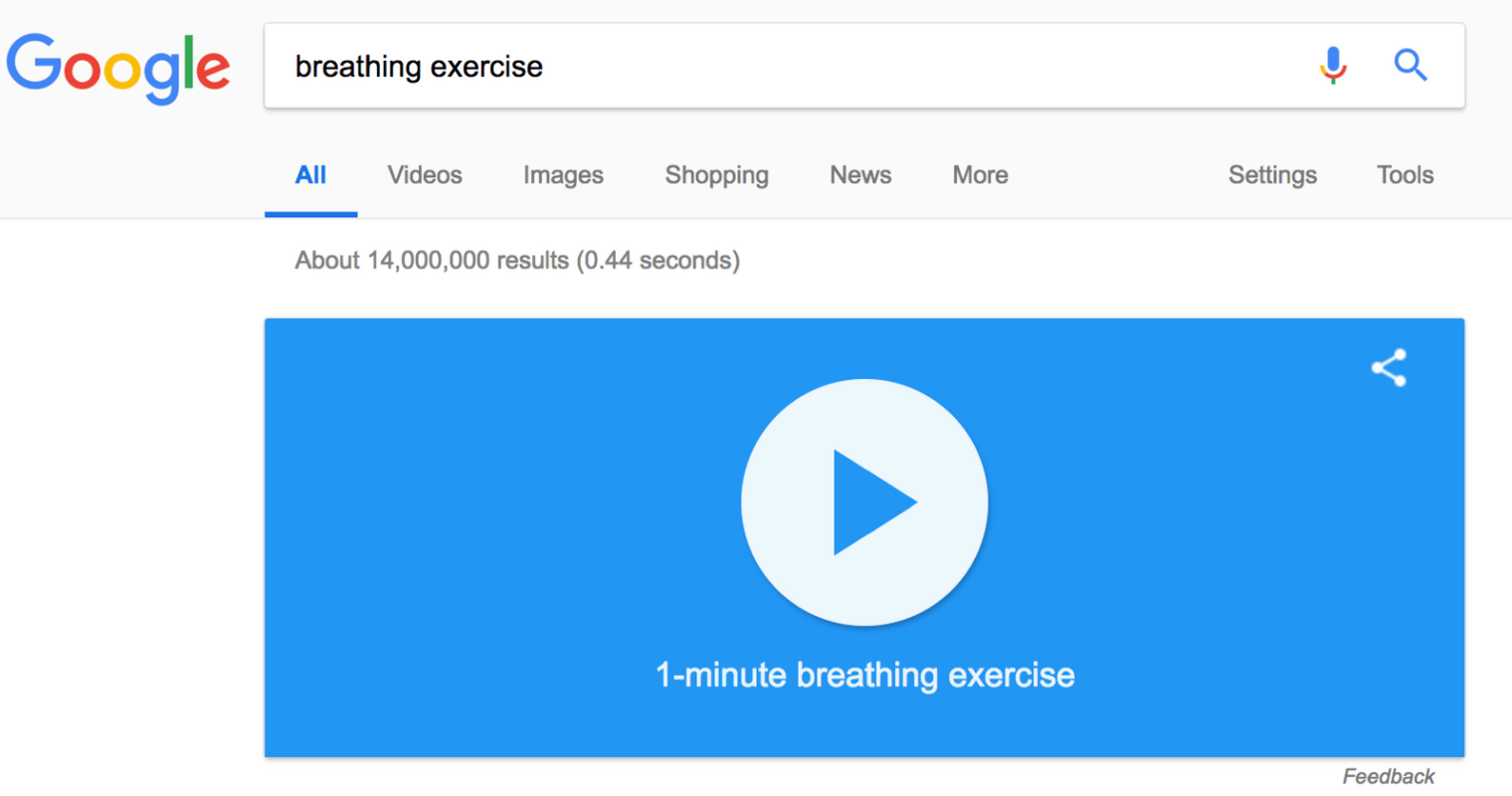 Google Adds a Breathing Exercise to Search Results