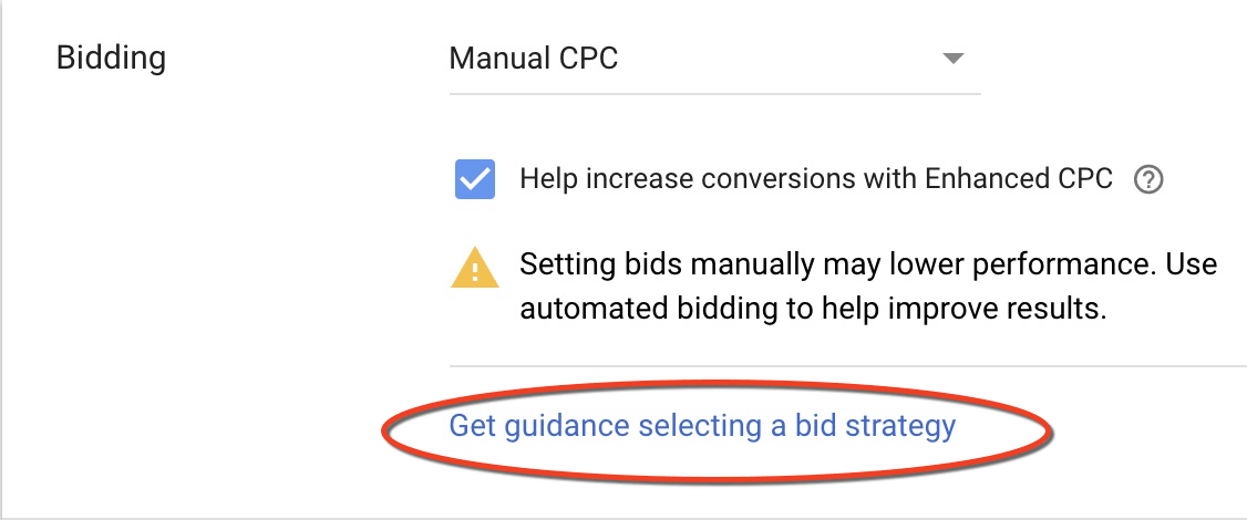 bid strategy - get guidance link