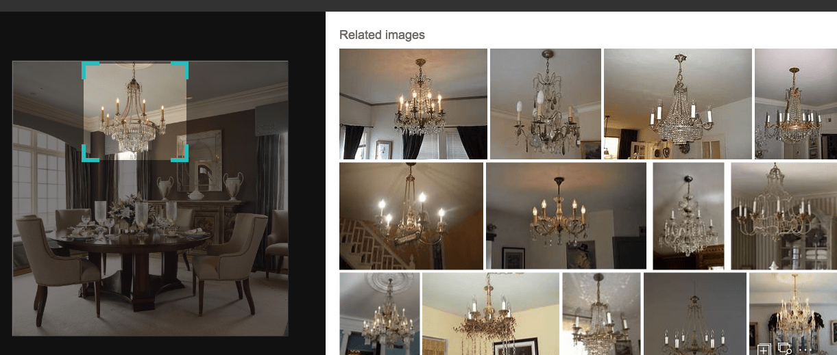 Image of a dining room and related images